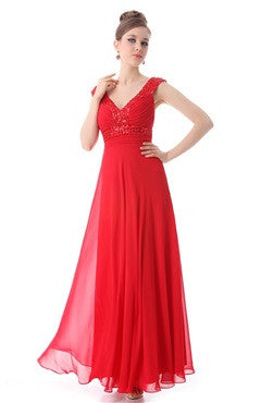 Red Sequined V Neck Cross Back Long Dress