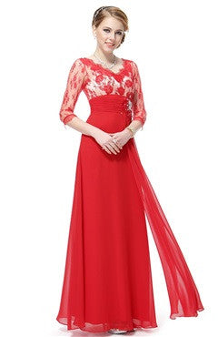 Red Lace Top Beaded Applique Waist Sash Dress