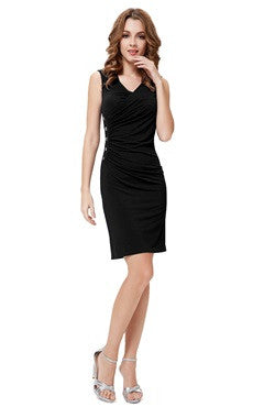 Black V Neck Side Buttons Detailed Cocktail Dress