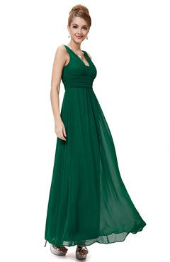 Emerald Green Deep V Neck Ruched Long Evening Dress