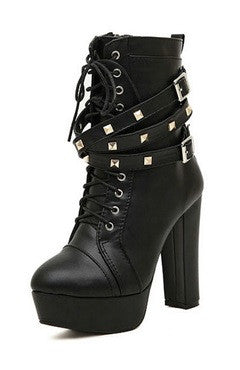 Black PU Studded Buckle Strap Platform Chunky Heels Lace-Up Boots