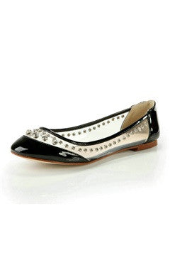 Clear Panel Embellished Patent Leather Flat Shoes