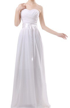 Pleated Sweetheart Neck Waist Ribbon White Dress