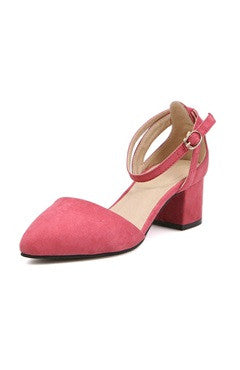 Faux Suede Ankle Strap Block Heel Shoes