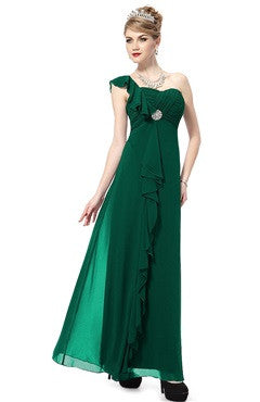 Emerald One Shoulder Ruched Bust Frill Detail Dress