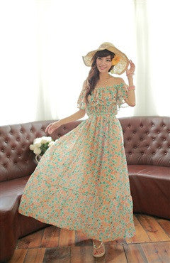 Floral Printed Off-the-Shoulder Ruffles Maxi Dress