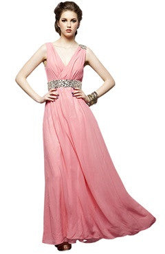Asymmetrical Beaded V Neck Evening Dress With Embellished Waist In Baby Pink