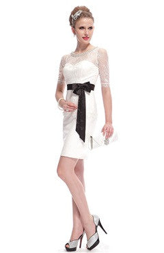 Illusion Half Sleeves Jeweled Neck Dress With Bow Sash