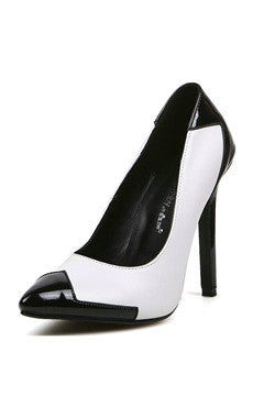 Color Block Faux Patent Leather Court Shoes