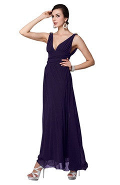 Dark Purple Plunge V Neck Low Cut Back Evening Dress