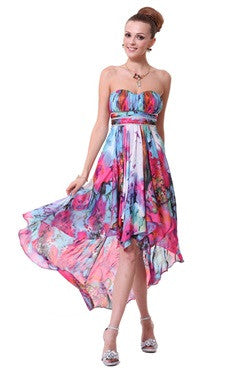 Sweetheart Neck Floral Printed Hi-Lo Dress