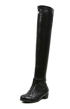 Front Zipped PU Leather Knee-Length Boots