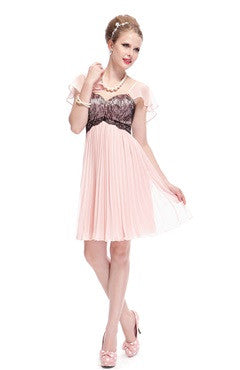 Pink Flutter Sleeve Lacy Bust Pleated Short Cocktail Dress