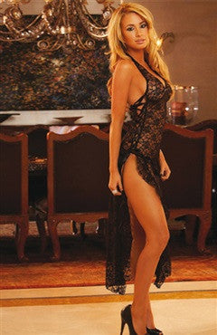Black Lace Side Lace-Up Robe