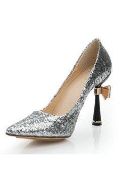Cone Heel Silver Glitter Pointed Pump Shoes With Bow