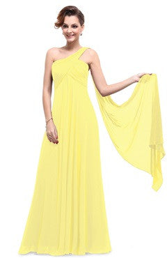 Yellow One Shoulder Streamer Long Party Dress
