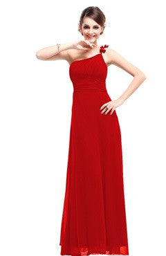 Red One Shoulder Ruched Bust Dress With Bow Detail