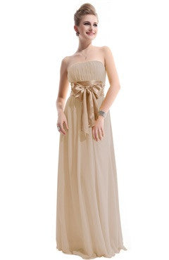 Beige Strapless Ruched Bust Chiffon Dress With Bow Sash