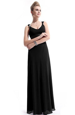Embellished Scoop Chiffon Bridesmaid Dress, Black