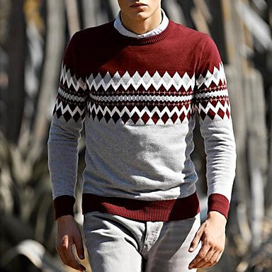 Men's Round Collar Slim Long Sleeve Knitwear Sweater