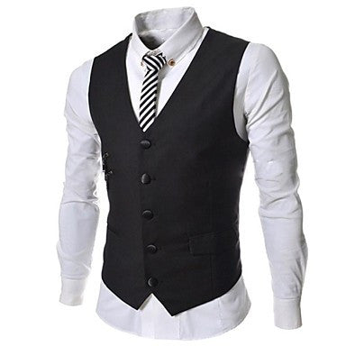Men's Solid Color Slim Single Casual Breasted Pure Vest A