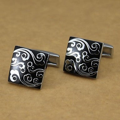 Fashionable Square Black Silver Man Wave Pattern Cufflink for Men (1pair)