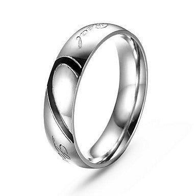 Fashion Staineless Steel Heart Shape Silver Men's Ring