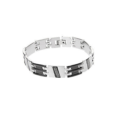 Classic Twill Bell Stripe 45cm Men's Black Titanium Steel ID Bracelet(1 Pc)