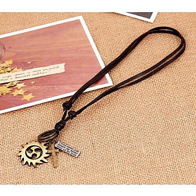 Lureme Vintage Style Leather Hot Wheel Pendant Alloy Necklace