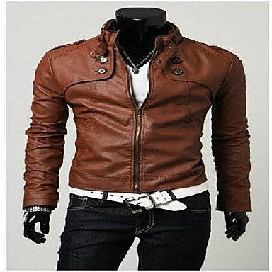 Men New Korean Fashion Stand-Up Collar Locomotive Leather Clothing Short Paragraph Slim Jackets