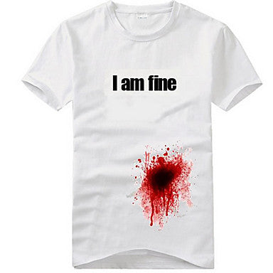 Men's Funny 3D T Shirt with Been Shot But I Am Fine Printed (100% Cotton)