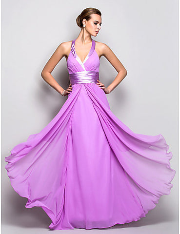 A-line Halter Floor-length Georgette Stretch Satin Evening/Prom Dress