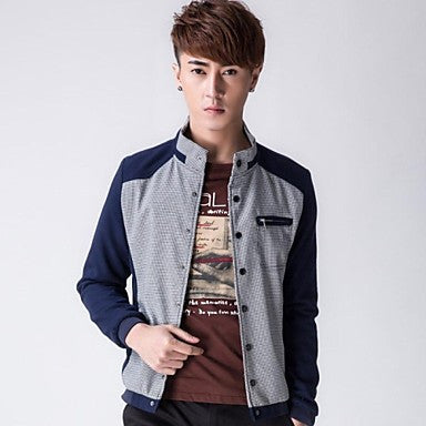 Men's Fashion Casual Stand Collar Long Sleeve Jacket