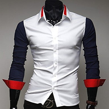 Men's Handsome Contrast Color Casual Shirts