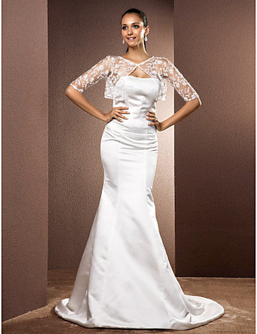 Trumpet/Mermaid Strapless Court Train Satin Wedding Dress With A Wrap