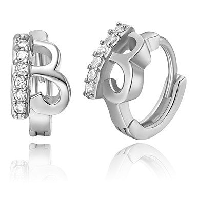"Gifr for Boyfriend High Quality Silver Plated Letter ""B"" Men's Stud Earrings(1 pr)"