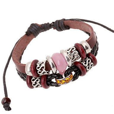 Classic Beads 20cm Men's Brown Leather Leather Bracelet(2 Pcs)