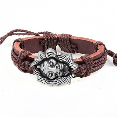 Vintage Lion 24cm Men's Brown Leather Vintage Bracelet(Brown,Black)(1 Pc)