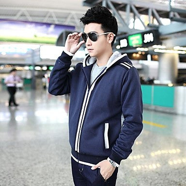 Men's Hoodie Collar Casual Long Sleeve Outerwear