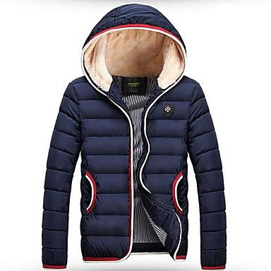 Men's Korean Fleece Hooded Parka Fashion Down Jacket (More Colors)
