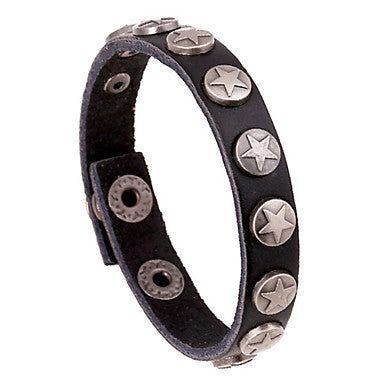 European Star 20cm Men's Multicolor Leather Leather Bracelet(White,Black,Blue,Red,Brown)(1 Pc)