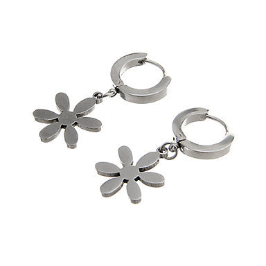Vintage Flower Shape Silver Alloy Drop Earring(1 Pair)