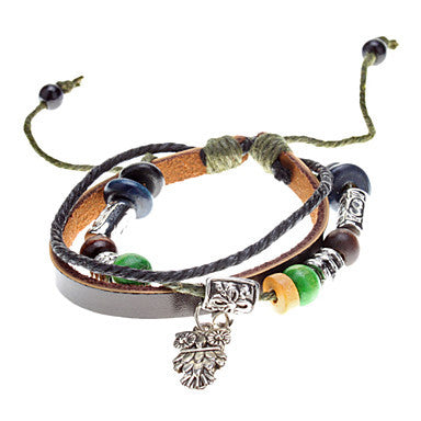 Unisex Owl Pendant Fabric Leather Bracelet