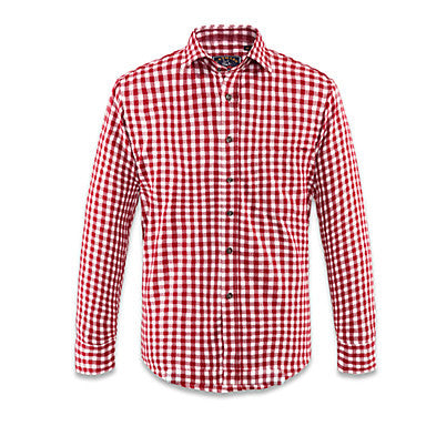 Red White Plaid Pattern Sanded 20% Cotton 80% Terylene Mens Casual Shirt