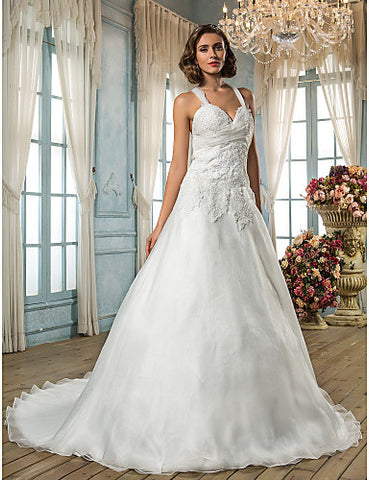 A-line Princess Straps Sweep/Brush Train Organza Wedding Dress (586045)