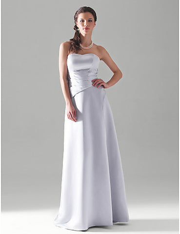 Bridesmaid Dress Floor Length Satin A Line Strapless Sweetheart Wedding Party Dress