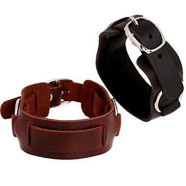 Vintage Punk Contracted Genuine Leather Men's Bracelets (1pc, Black/Brown)