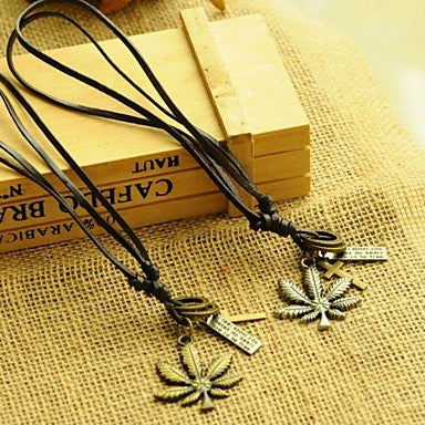 Korea Style Literary Maple Leaf Leather Pandant Necklace(1pc)