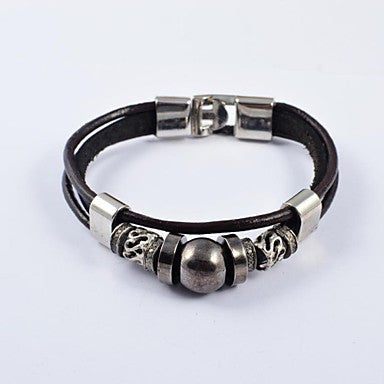 Ethnic Men's Stainless Steel Accessory PU Leather Bracelets