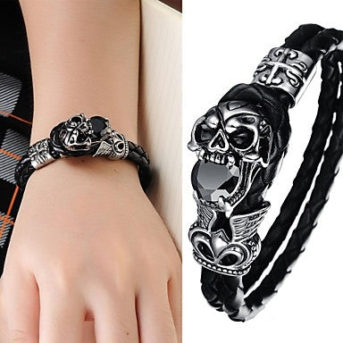 Super Cool Rock Fashion Ideas Devil Skull Leather Men's Bracelet